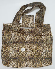 China Waterproof Sexy Folding Shopping Bags Leopard Print Convenient Fold 190T Materials factory