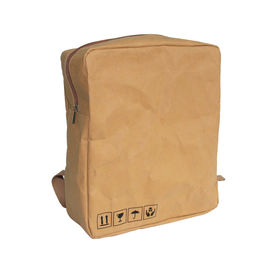 Carrying Washable Paper Backpack Simple Design Brown Kraft Paper Backpack