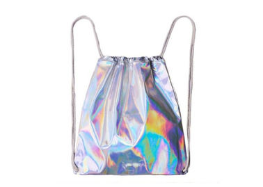 China Silver shinny laser backpack custom waterproof nylon drawstring backpack for women factory