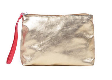 China Shiny gold PU leather cosmetic bag metallic washable kraft paper cosmetic bag factory