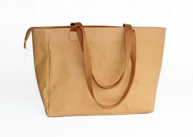 China Durable Brown Washable Tote Bags Kraft Paper Shopping Bag ladies handbags with custom logo factory