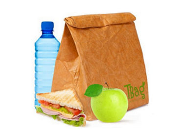 Top quality recycled brown tyvek paper lunch bag lightweight environmental insulated cooler bag