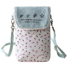 China Custom Cute fresh floral cotton mini crossbody cell phone purse bag for women factory