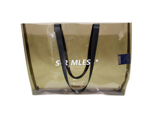 China Custom ladies pvc handbag transparent pvc tote bag with printed logo clear beach bags factory