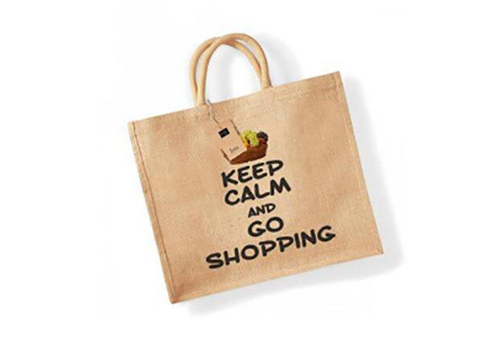 Fantastic Reusable Washable Tote Bags Burlap Jute Shopping Bag With Custom Logo supplier