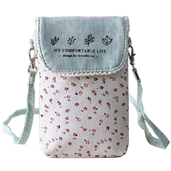 Custom Cute fresh floral cotton mini crossbody cell phone purse bag for women supplier