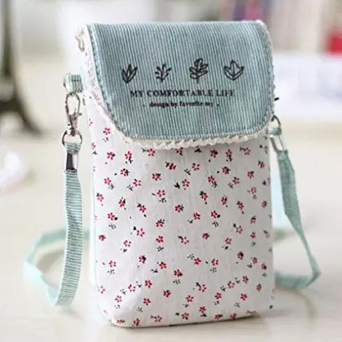 Custom Cute fresh floral cotton mini crossbody cell phone purse bag for women